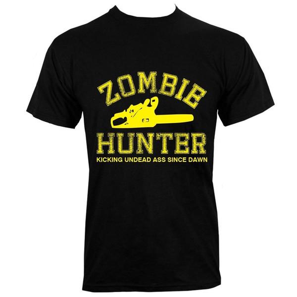 Zombi Hunter erkek Siyah T-shirt Komik Giyim Rahat Kısa Kollu T Gömlek Yaz 2018% 100% Pamuk