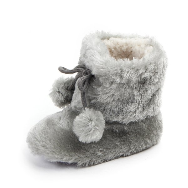 Neonato Fleece Super keep warm lana di lana Snow Winter Baby boots Decorazione palla Presepe per bambine modello da bambina