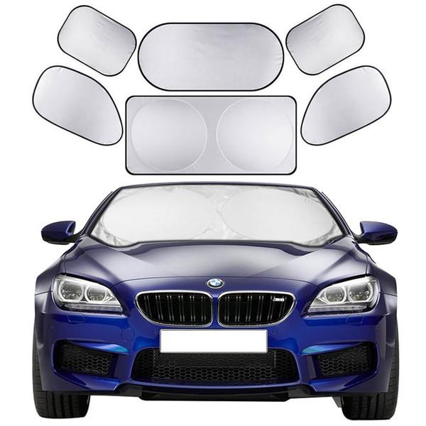 6pcs/set Car Sun Shade Screen Full Car Front Side Rear Window Sunshade Curtain Windshield Shades Visor Cover Sun Block