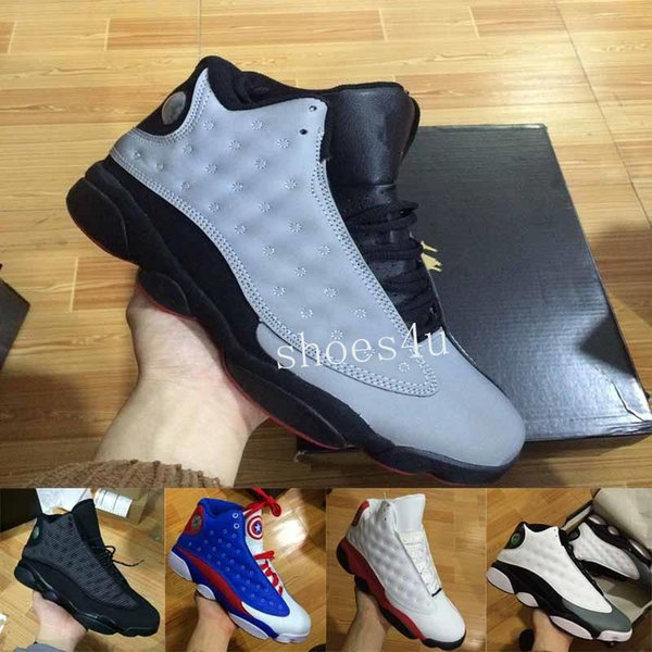 [Kutu Ile] Ücretsiz kargo Ucuz Yeni 13 Basketbol Ayakkabı Erkek Sneakers Markası Erkekler 13 s Siyah Mavi Beyaz Spor Ayakkabı ABD 8-13
