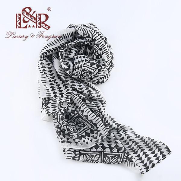 2018 Géométrique Femmes En Soie En Mousseline De Soie Écharpe Femme Imprimer Foulard Femme Écharpes Châle Polyester Big Head Foulard plage couvrir jusqu'à hijab