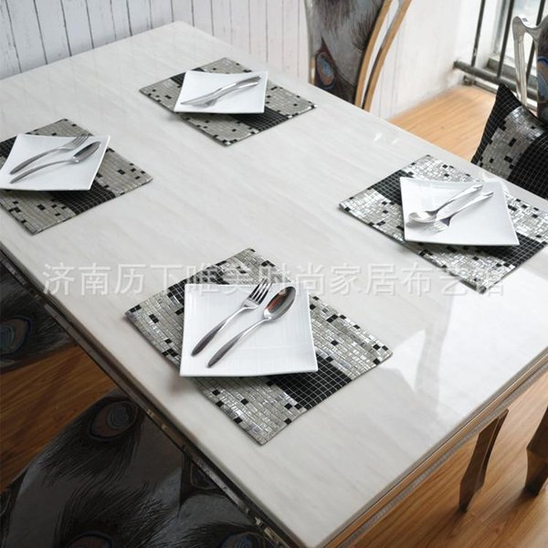 Luxury modern fashion mosaic pattern placemat double woven fabric thick square and rectangular anti-hot insulation pad bowl mat tableware