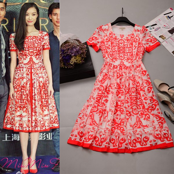 c29ba679a6 European American Celebrity Style Women Short Sleeve Summer Fashion Cotton  and Linen Dress Print Sweet Bodycon