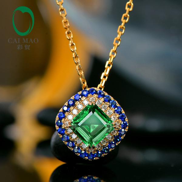 Beau pendentif avec émeraude antique sertie de diamants naturels et de saphirs, en or massif 14 kt