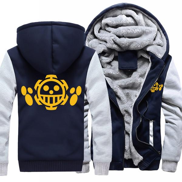 Anime-einteilige Hoodies Trafalgar-Gesetz-Druck-mit Kapuze Mantel-starker Reißverschluss-Mann-beiläufiger Jacken-Sweatshirt-Winter-warmer langer Hülsen-Hoodie