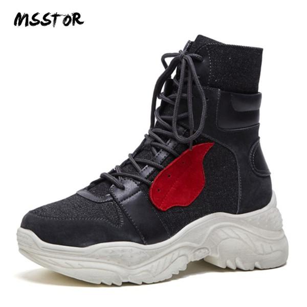 Großhandel Wedges Winter Cm Plus Casual Von Plattform Größe Frauen Gummistiefel Schwarz Msstor Mode 6 Sneaker Schnüren Stiefel Herbst Mischfarben Tl3KF1Jc