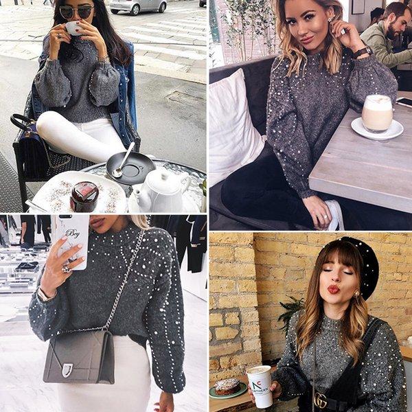 Lanterne manches chandail femmes cachemire cou cou angora pull hiver femmes pulls et pulls tricoté chandail à manches longues fs5702