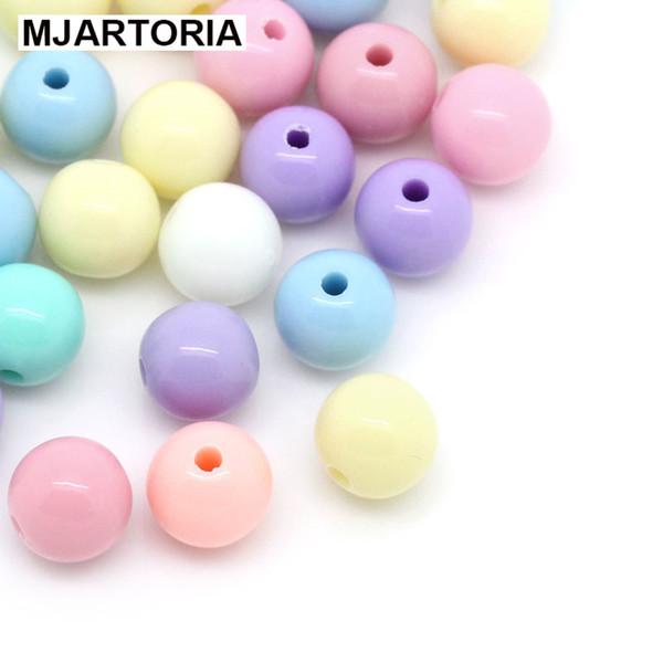 2018 500PCS Colore della caramella acrilico palla rotonda perline distanziatore per catena ciuccio Creazione di gioielli fai da te artigianato artigianato mix casuale