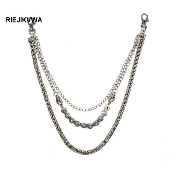 "21.3"" Iron Metal Silver Color Punk Bicycle Skull Chain Multilayer Male Trousers Chain Punk Rock Jeans Pants Handmade"