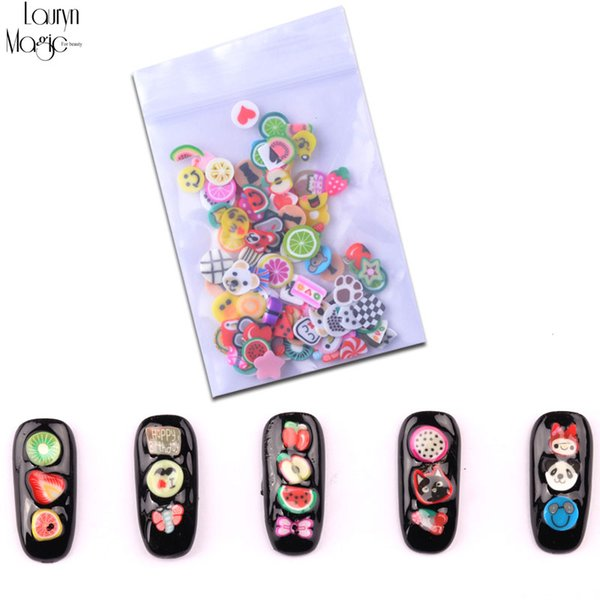 New 100pcs/pack Nail Art 3D Fruit Fimo Slices Polymer Clay DIY Slice Decoration Nail Sticker Mixed Stype