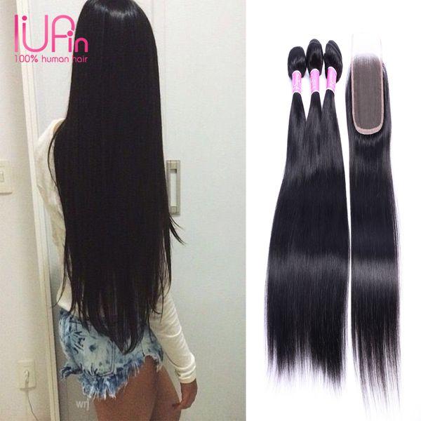 Brasilianische Menschenhaar Doppel Schuss Seidiges Gerades Haar Bundles 3 Bundles mit Top-spitze-verschluss Unverarbeitete Haarverlängerung