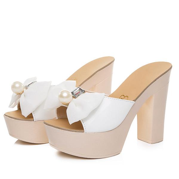 Summer Of Nice El nuevo Diamond Han Edition Grueso con zapatillas frescas Bowknot Sandalias de tacón alto Remolque con palabras Pescado Boca Zapatos Mojado