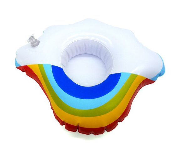 150pcs Inflatable Cloud Rainbow Drink Cup Holder Send Inflator Summer Hot Sale Cup Seat Inflatable Beach Pool Float Coaster Toys