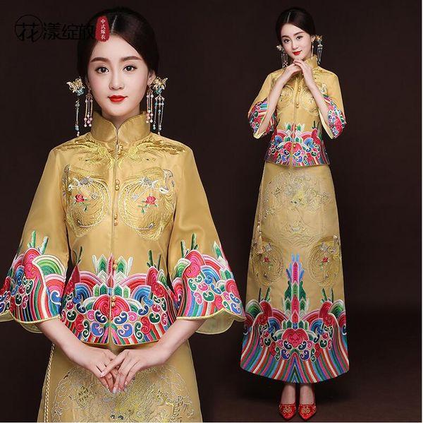 Noiva Cheongsam Moderno Chinês Vestido Tradicional de Casamento Qipao Su Bordado Vestido Robe Chinoise Oriental Estilo Vestido de Noite