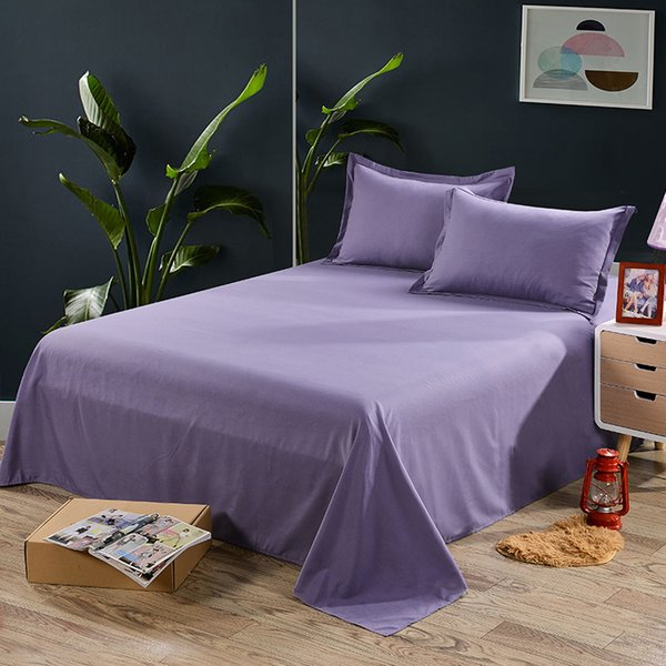 1pcs Solid White Flat Sheet Polyester Bedding Sheets Sanding Flat Bed Sheet For Adults Children Students Single Double Size