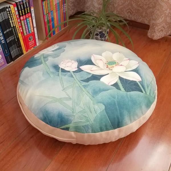 Lotus Cotton Linen Cushion Round Seat Sofa Chair Pillow Cushion Chair Pads Office Vehicles Home Round Futon Cushion 40cm/50cm/60