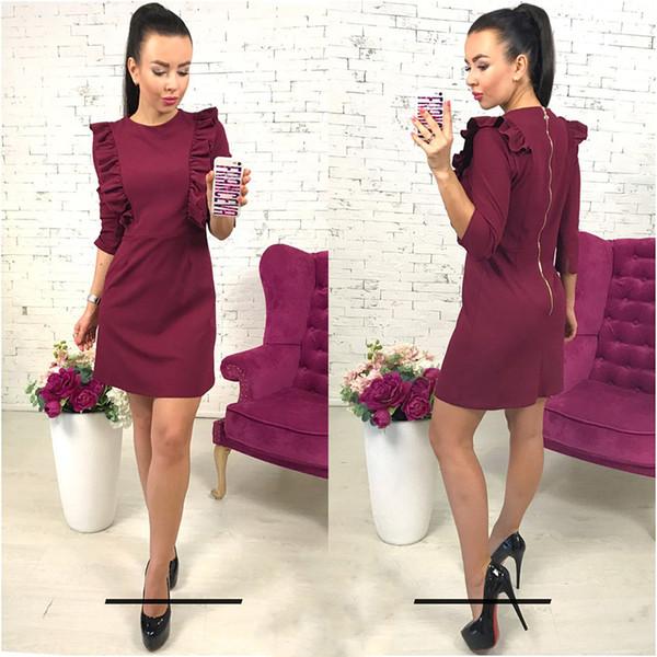 2018 Bahar yeni kadın Ruffles elbise casual o-boyun 3/4 kollu Tunik elbiseler geri fermuar bodycon parti Vestidos