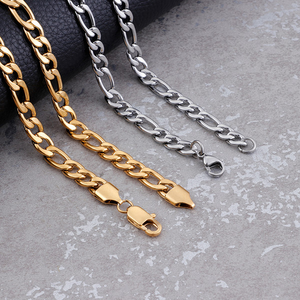 7.5mm Width Large Figaro Chain Necklace Silver Gold Stainless Steel Link Chain Wholesale Necklace New Year Gift