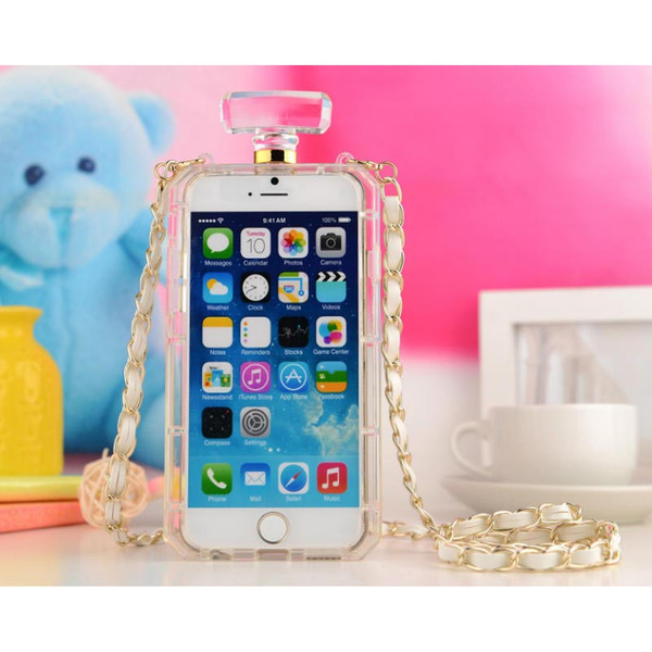 Perfume Bottles Box Case for Iphone XS Max XR XS X Soft TPU Phone cover With Chain for 6 6s 7 8 Plus