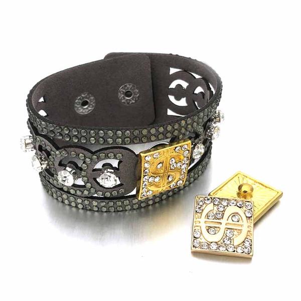 Мода горячая Bling Bling Кристалл 313 стразами корейский бархат 18 мм Оснастки кнопки ювелирные изделия браслет для женщин подростков подарок