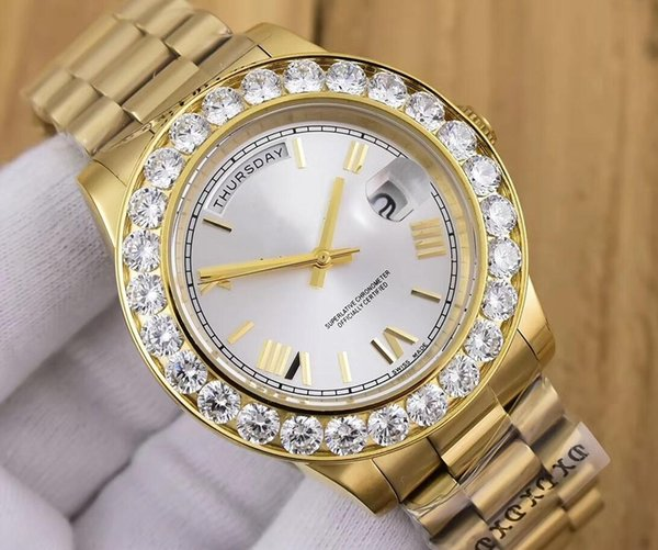 Brand New 2 Color President Day-Date 41mm 18038 big Diamond Bezel Watch 18k Yellow Gold Mens Casual Watch Automatic Mechanical Men's Watch