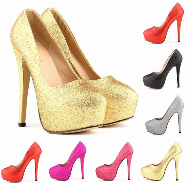Sexy Women Pumps Ultra High Heels Glitter Gold Shoes 14cm Platform Round Toe Ladies Wedding Party Shoes US4-11 D0232