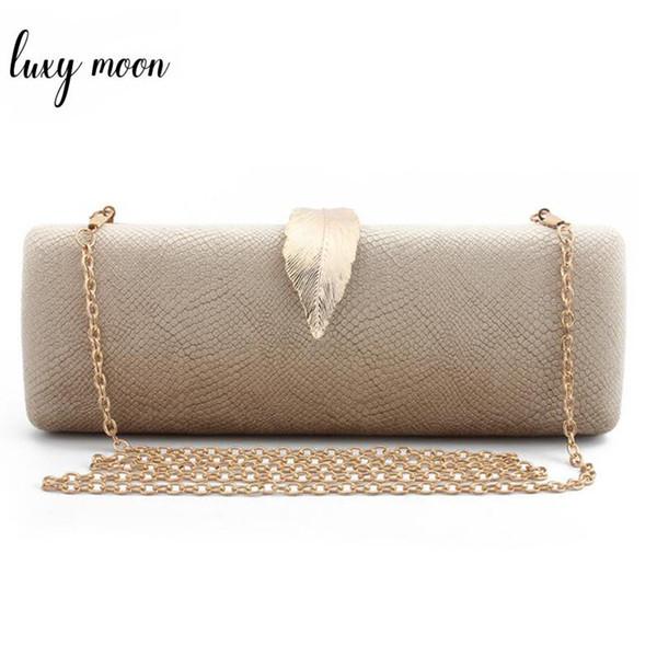 Faux Suede Clutch Evening Bag For Women Long Design Clutch Bag Gold Color Metal Leaf Lock Wedding Purse Female Handbag Bolsa