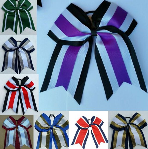 HOT SALE 8 inch Three Layers Grosgrain Ribbon Cheer Bows With Elastic Band Striped Patchwork Girls Cheerleading Bows Hair Accessories 12pcs/