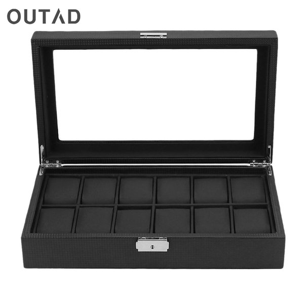 OUTAD 12 Grid Jewelry Casket Watch Display Gift Boxes Leather Automatic Organizer Storage Pillow Rack Packaging Holder Case Hot