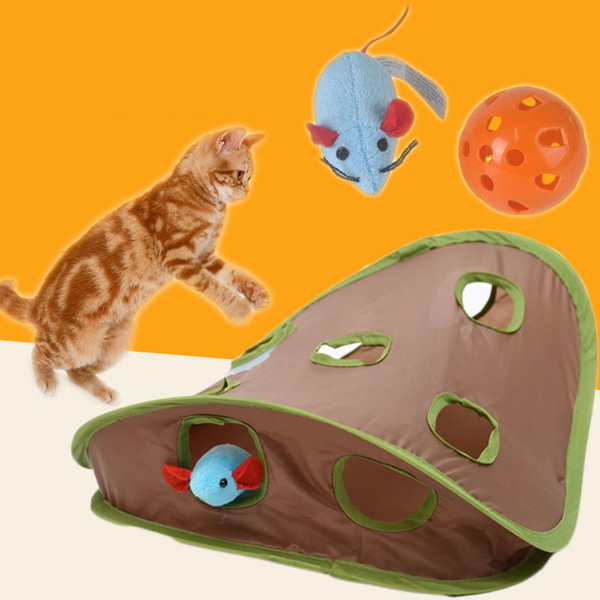 Beneficial Wisdom Nine Holes Mouse Hunt Hole Bells Cat Toys Suit Portable Kitty Articles Pet Supplies 13 95bl bb