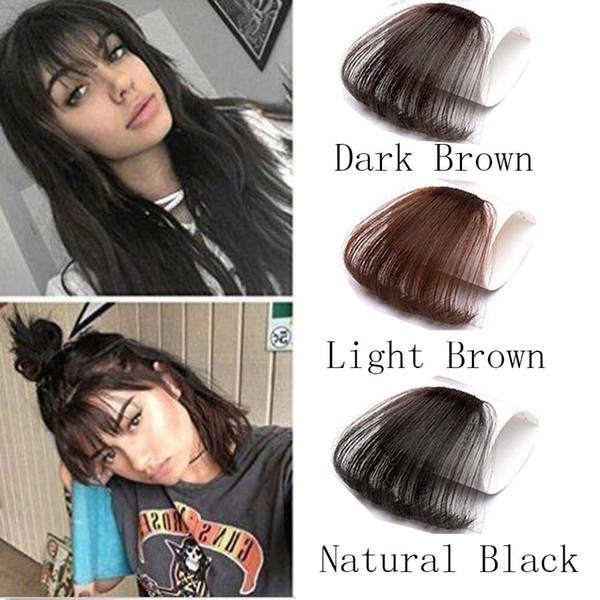top popular Women Clip In Bangs Clip On Bangs Fringe 100% Real Natural Human Hair Extension Hand Tied 2019