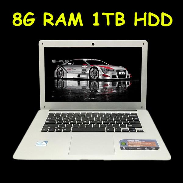 Cheap 14 Laptop Computer Notebook Celeron J1900 Quad Core 8G RAM 1TB HDD Windows 7/8 WIFI Webcam Portable Laptops PC 3 Color
