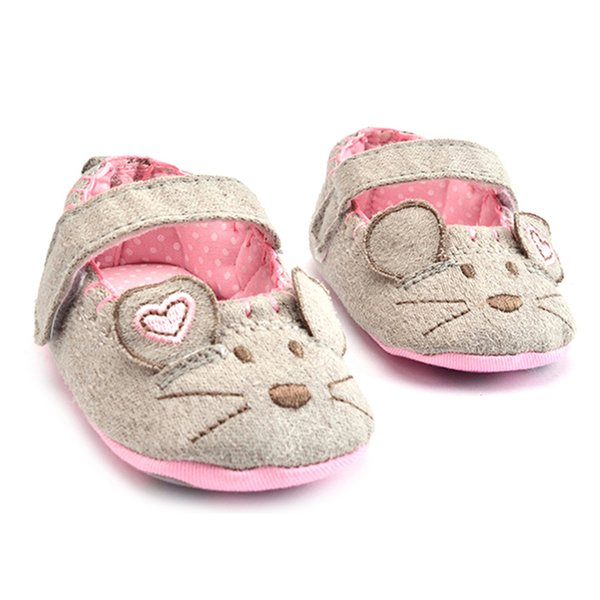 Prewalkers Shoe Baby Girls First Walkers Cotton Cartoon Grey Mouse Soft With Pattern Shading Soft Sole Baby Toddler