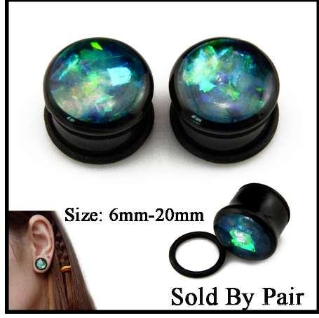 Pair Acrylic Single Flared Ear Tunnel Flesh Plug With O Ring Bling Glitter Crystal Ear Expander Stretcher Piercing Body Jewelry