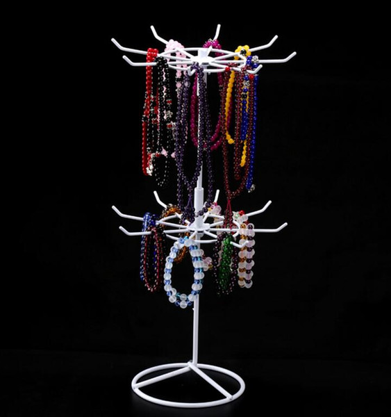 New Arrival DIY Install Double Tier Metal Rotating Jewelry Stand Earring Necklace Display Holes Storage wig bracelet Holder Rack