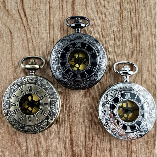 100pcs Vintage Bronze Copper Steampunk Pocket Watch Hollow Pendant Chain Women's And Men's Gear Roman Clock Fob Watch Wholesale