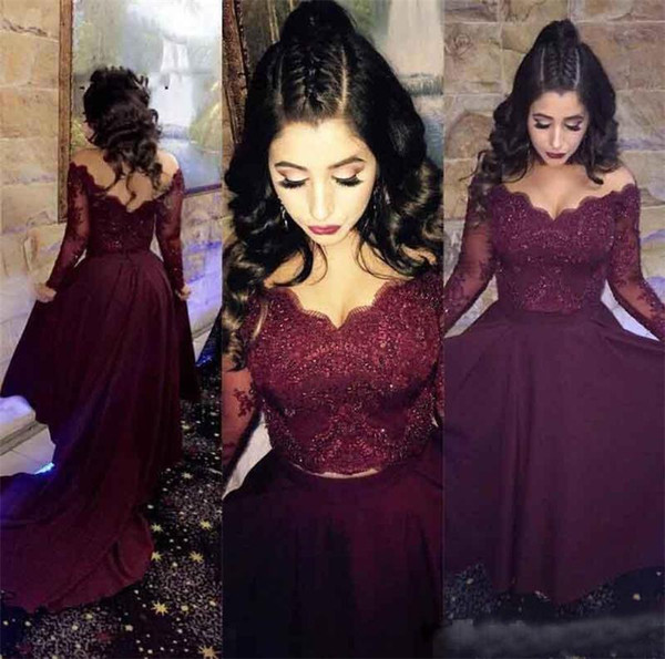2018 Off Shoulder Burgundy Lace Evening Dresses Sexy Illusion Long Sleeve Beaded Satin Court Train Backless Red Carpet Celebrity Party Gowns