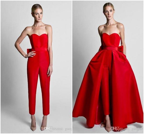 2019 Krikor Jabotian Red Jumpsuit abiti da sera formale con gonna staccabile Sweetheart Prom Dresses Party Wear pantaloni per le donne vendita calda
