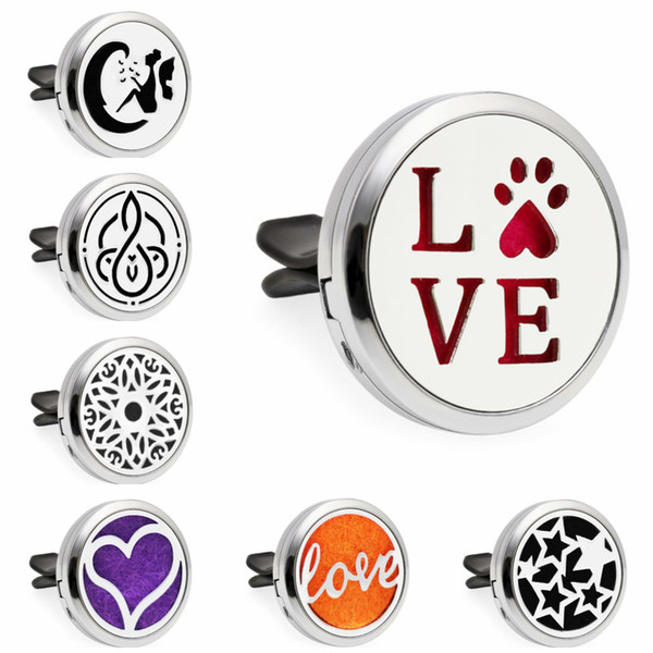 Love Paw Heart Moon Stars Guitar 30mm Magnet Essential Oil Aromatherapy Car Diffuser Locket Perfume Locket Vent Clip 10pcs Pads
