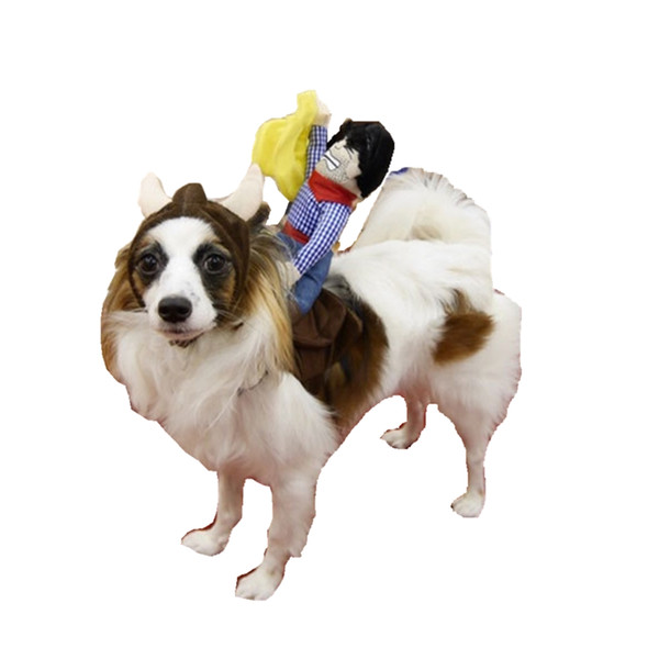Cowboy Rider Dog Costume for Dogs Outfit Knight Style with Doll and Hat for Halloween Day Apparel M for Event Party Christmas Uniform
