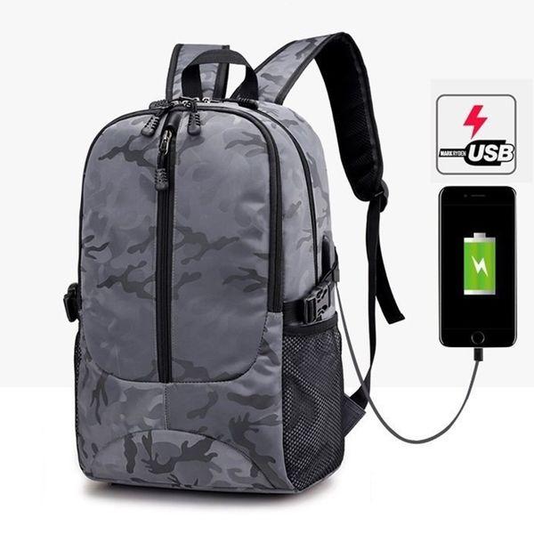 Laptop Backpack USB Charging Backpacks Men School Bag for College Student Bagpack Camo Printing Oxford Teenager Knapsack Bolsas