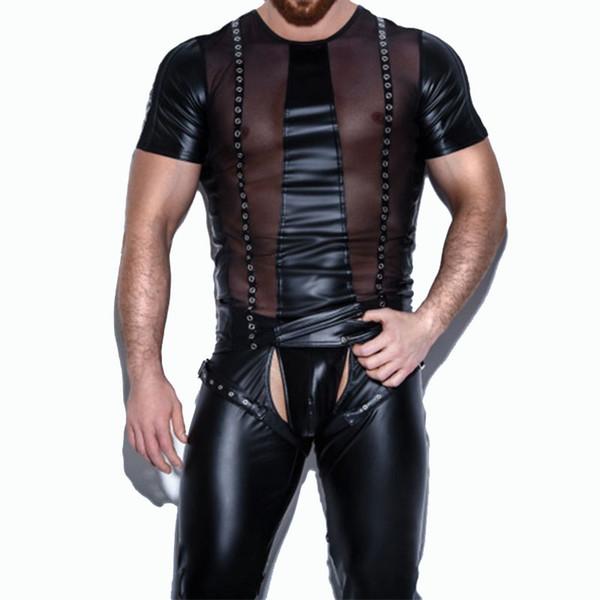 Schwarz Kunstleder Dessous Top Erotische Homosexuell Wet Look Front Mesh Durchschauen Sexy Herren Nachtclub Latex Catsuit Männer Exotische Teddys
