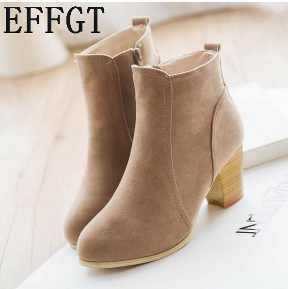 EFFGT New Autumn and winter short cylinder boots with high heels boots shoes Martin women ankle with thick scrub