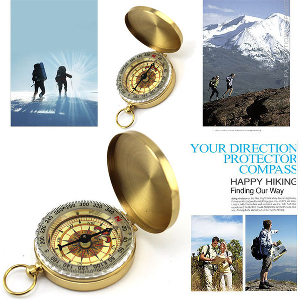 Pocket Brass Watch Style Outdoor Camping Hiking Navigation Compass Ring Keychain Q1031*20