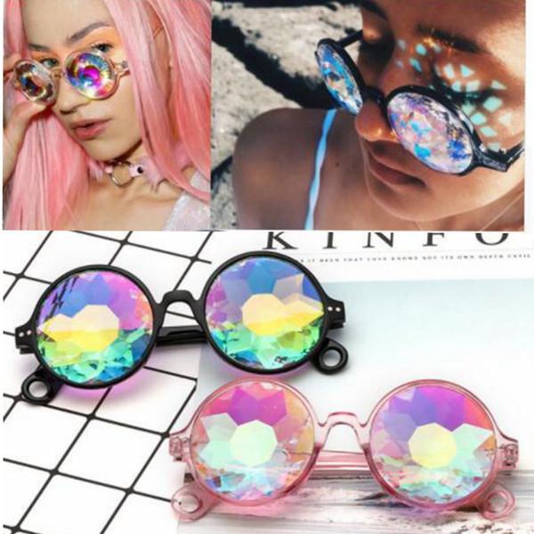 top popular Round Kaleidoscope Sunglasses Men Women Designer Eyewear Kaleidoscope lens Glasses Cosplay goggles Round Party Sunglasses LJJK993 2019