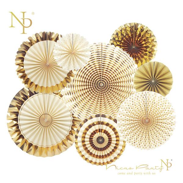 Nicro 8pcs /Set Gold Party Decorative Creative Paper Flower Fan Handmade Striped Folding Fan Party Supplie Wholesale