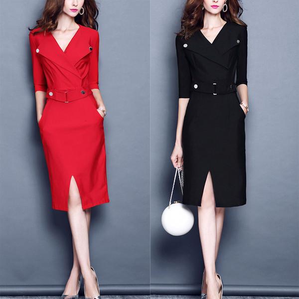 Женщины повязки платье тонкий V-образным вырезом Midi платье женская Офисная одежда