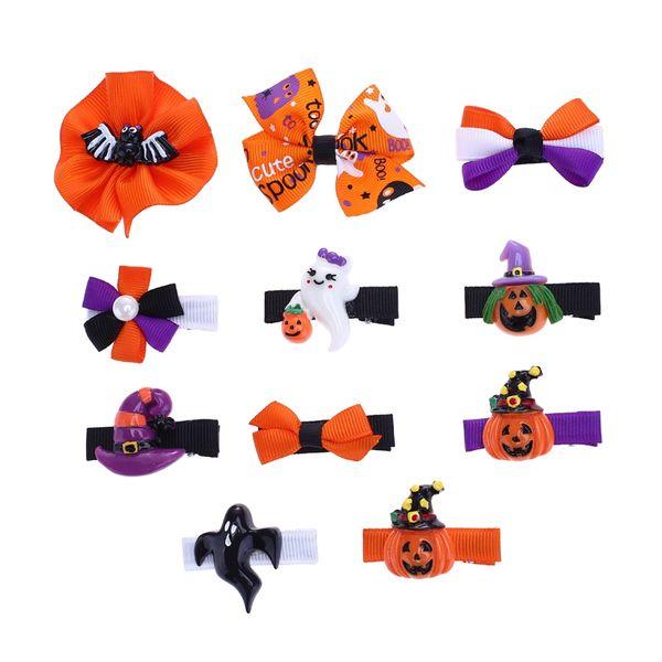 10 PCS/Lot Multistyle Grosgrain Ribbon Hair Bow Halloween Party Cheer Bow Print Cartoon Pumpkin Hair Clip Ribbon Barrettes