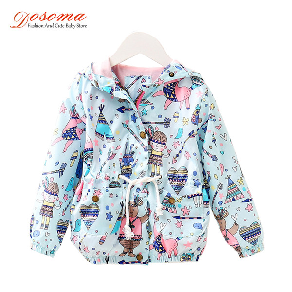 DOSOMA Spring Baby Coat And Jacket For Girls Cartoon Graffiti Print Hooded Kids Windbreaker For Girls Toddler Outerwear Clothes