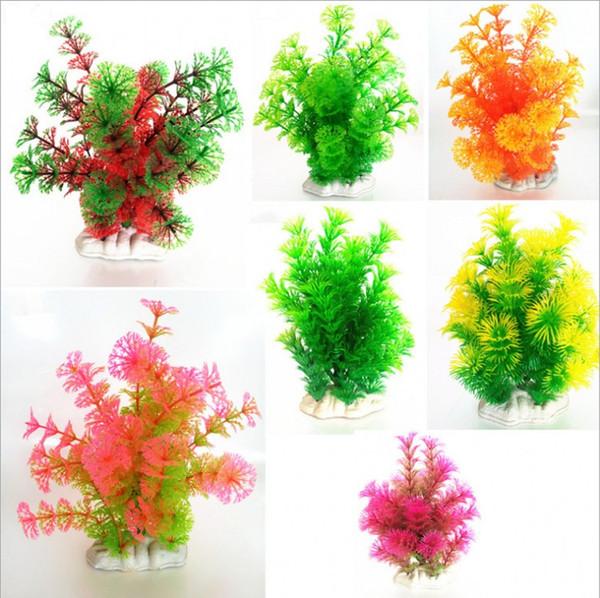 10pcs / lot vente chaude artificielle vert coloré plante sous-marine réservoir de poissons aquarium décoration oranment plante décorative